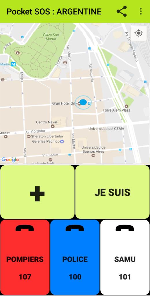 pocket sos by amasele vue avec carte en argentine