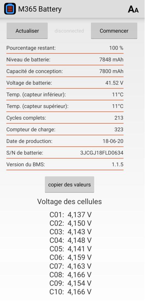 Historique de la batterie 4050 km app M365 battery