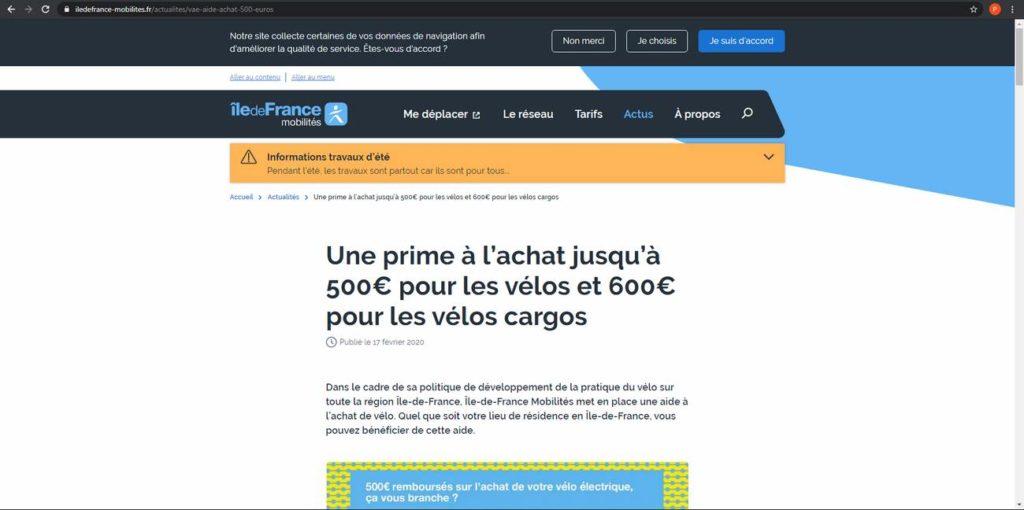 Les informations sur l'éligibilité à la prime de la région Île-de-France