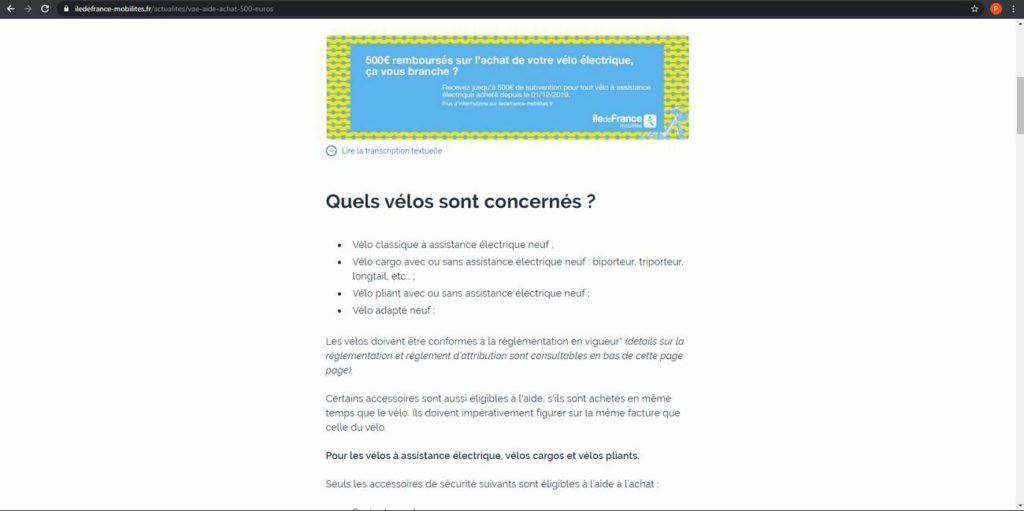 Les informations sur l'éligibilité à la prime de la région Île-de-France (suite)