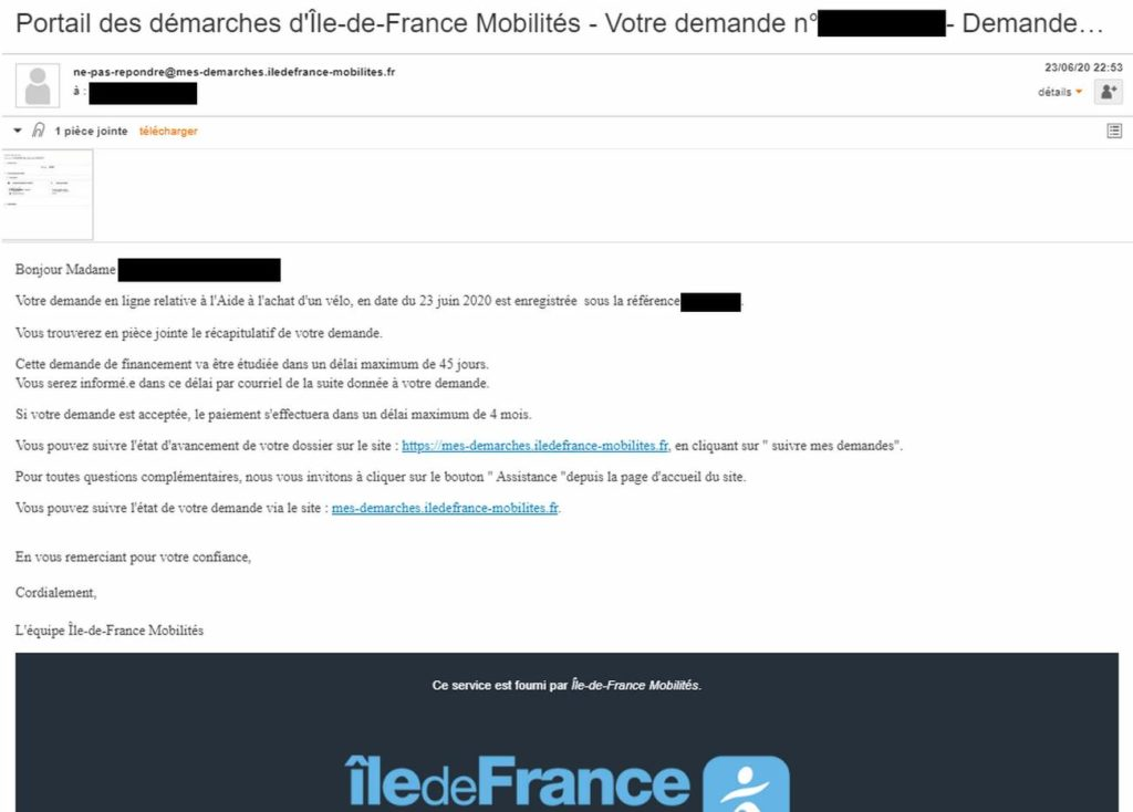 Confirmation du dépôt sur votre email