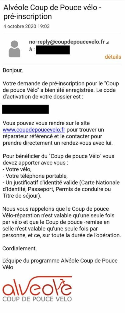 Mail de confirmation coupdepoucevelo